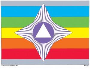 Verdensrigets eller verdensstatens flag - tegnet af Martinus (1890-1981) som symbol nr. 42 i Det Evige Verdensbillede bog 4. se mere på martinus.dk