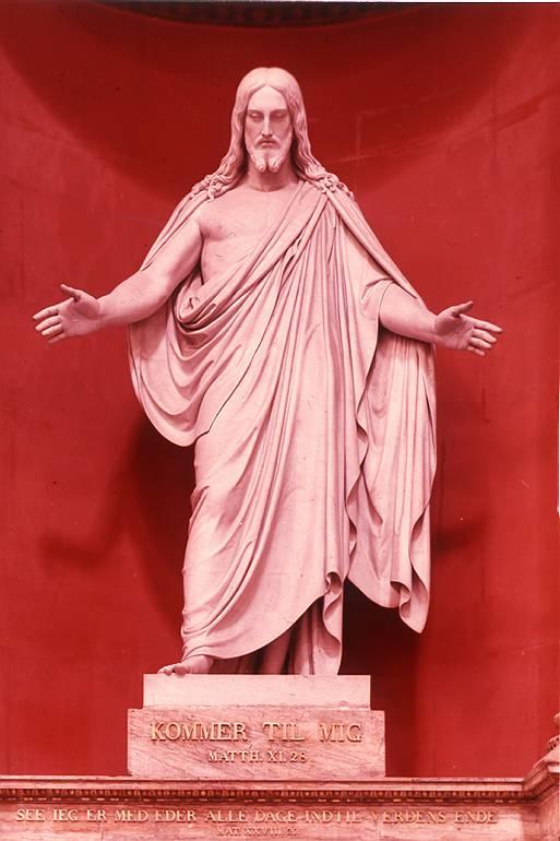 """Martinus havde ikke siddet ret længe, før han så et lysende punkt i det fjerne, og pludselig kom en kristusfigur til syne. Det var den danske billedhugger Bertel Thorvaldsens skulptur af Kristus, hvor han siger: """"Kommer til mig"""" (Domkirken i København). – Figuren var lille og stod noget borte. Så blev det mørkt, og da det blev lyst igen, var figuren blevet levende og i naturlig menneskelig størrelse. Den var iklædt et gevandt af lysende små stjerner, næsten som en kåbe af diamanter. Det var kolossalt lysende, lyset var snehvidt, skyggerne var blå. Dette Kristus-væsen af blændende solskin kom ganske stille hen mod Martinus, der sad som lammet i sin kurvestol. Han så lige ind i en skikkelse af ild, der bestod af små lysende punkter, omtrent som ved en stjernekaster, blot var gnisterne meget mindre. Til sidst bevægede skikkelsen sig lige ind i Martinus' krop, ind i hans indre. Her standsede den og blev stående. En vidunderlig ophøjet følelse betog Martinus, og lammelsen var forbi. /Ole Therkelsen"""