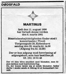 Dødsannonce (+08.03.1981) i avisen for Martinus Bisættelse i Tivolis Koncertsal den den 29.03.1980